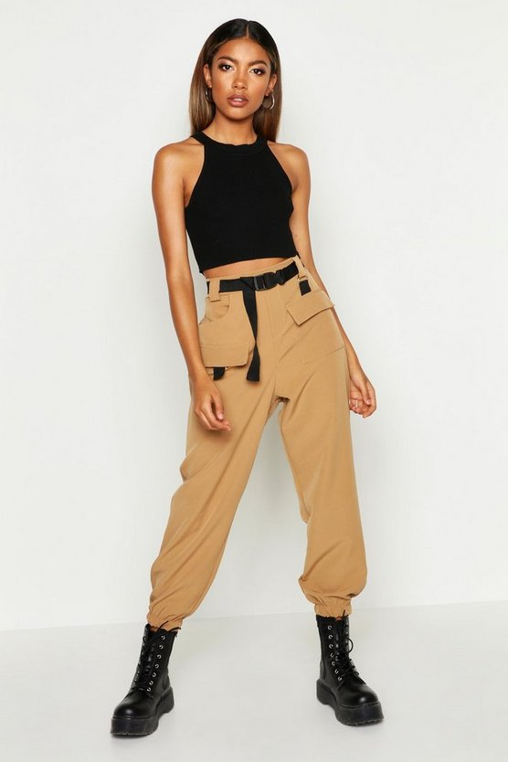 Womens Camel Cargo Belted Trousers