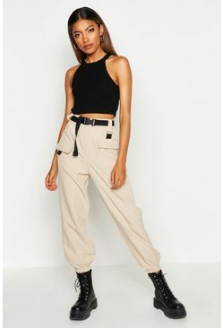 Womens Stone Cargo Belted Trousers