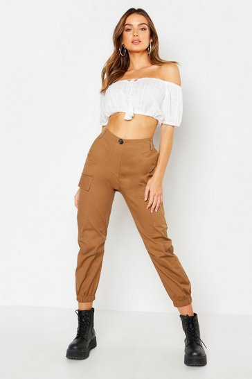 Womens Camel Cargo Twill Trouser