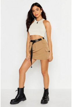Womens Camel Micro Cargo Belted Mini Skirt