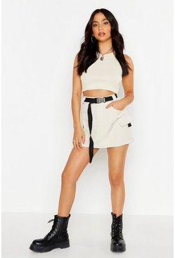 Stone Micro Cargo Belted Mini Skirt