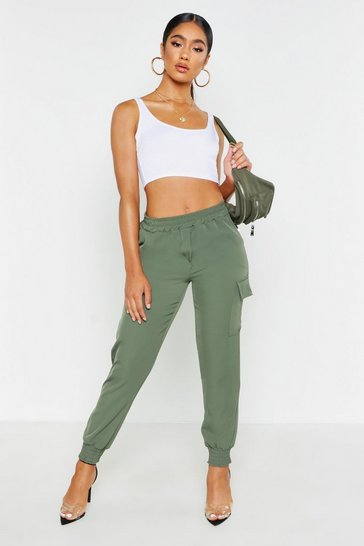 Womens Khaki Shirred Detail Pocket Cargo Trousers
