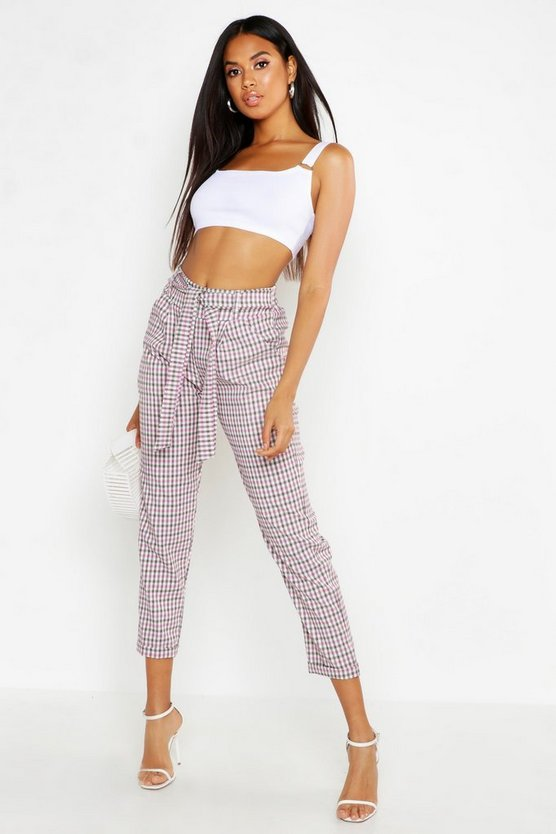 Womens Pink Check Tie Waist Pocket Trouser