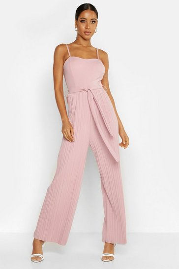 Womens Rose Bandeau Tie Waist Pleated Jumpsuit
