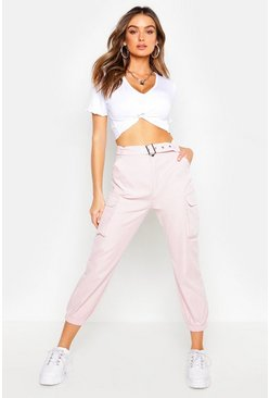 Womens Blush Belted Cargo Trouser