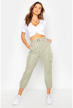 Womens Sage Belted Cargo Trouser