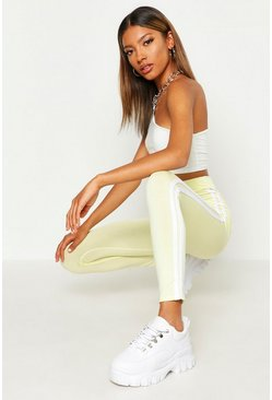 Womens Lemon Double Side Stripe Leggings