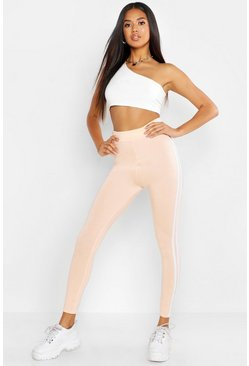 Womens Peach Double Side Stripe Leggings