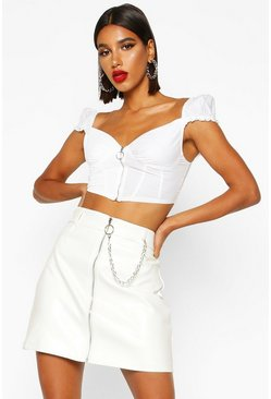 White Chain Detail Leather Look Mini Skirt