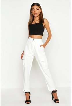 Womens White Pocket Front Slim Utility Trouser