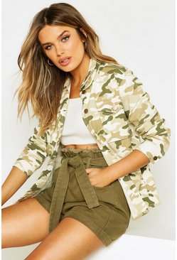 Womens Stone Washed Camo Denim Jacket