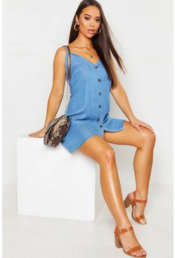 Womens Blue Denim Chambray Button Through Slip Dress