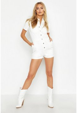 Womens White Button Front Denim Romper