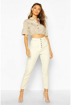 Womens Ecru Button Front High Waist Mom Jean