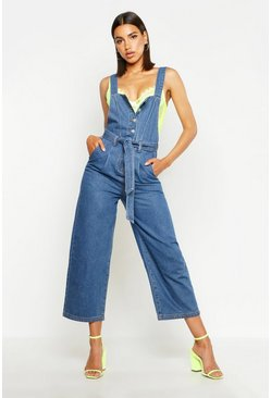 Womens Mid blue Button Front Tie Waist Denim Dungaree