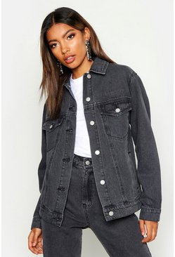 Womens Grey Oversized Denim Jacket