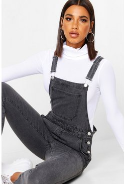 Womens Grey Boyfriend Denim Dungaree