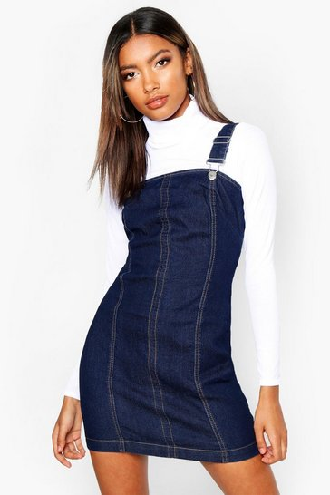 Womens Dark blue Denim Dungaree Dress