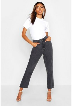 Womens Grey High Rise Mom Jean