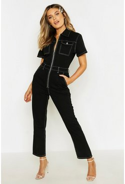Womens Black Contrast Stitch Short Sleeve Zip Through Boilersuit