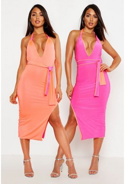 Womens Pink Contrast Binding Halterneck Bodycon Midi Dress