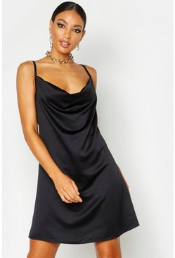 Womens Black Satin Cowl Neck Mini Dress