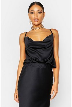 Womens Black Satin Cowl Neck Cami Top