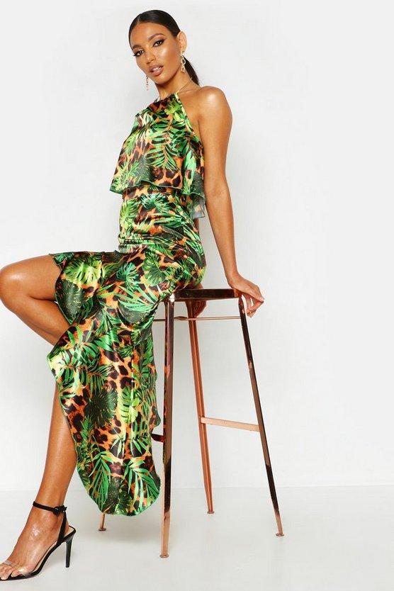 Satin Tropical Leopard Ruffle Midi Skirt