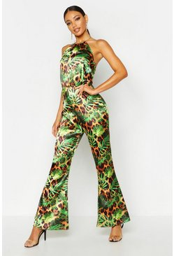 Womens Gold Ring Tropical Leopard Halterneck Jumpsuit