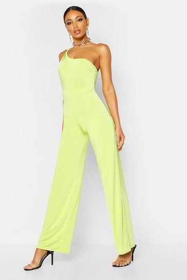Womens Lime One Shoulder Wide Leg Slinky Jumpsuit