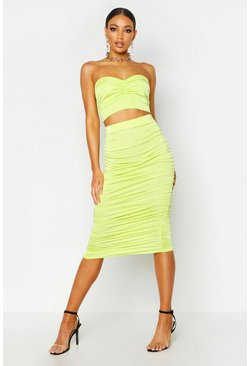 Womens Lime Ruched Slinky Midi Skirt