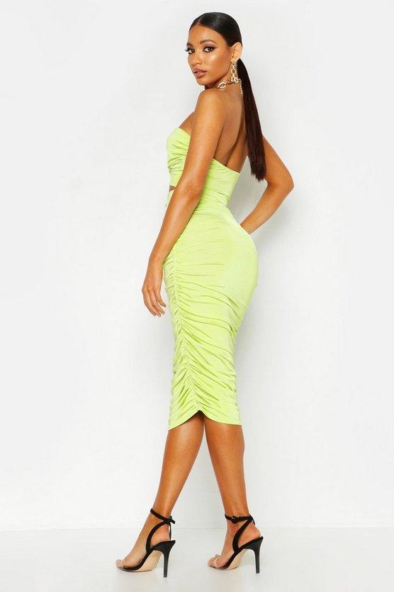 Ruched Slinky Midi Skirt