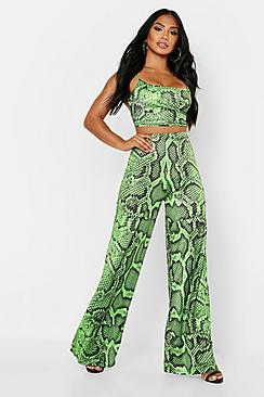 Snake Print Neon Strappy Top & Wide Leg Co-Ord