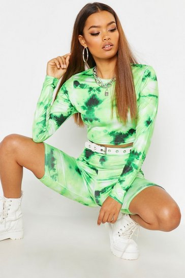 Womens Green Tie Dye Long Sleeve Crop & Cycle Short Co-Ord