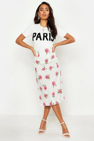 Womens White Polka Dot Floral Bias Cut Midi Skirt
