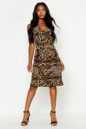 Womens Brown Jungle Print Cami Wrap Midi Dress