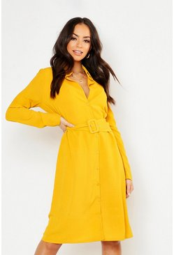 Apricot Self Belt Shirt Dress