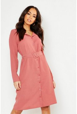 Sand Self Belt Shirt Dress