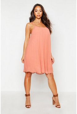 Womens Apricot Chiffon Pleated Swing Dress