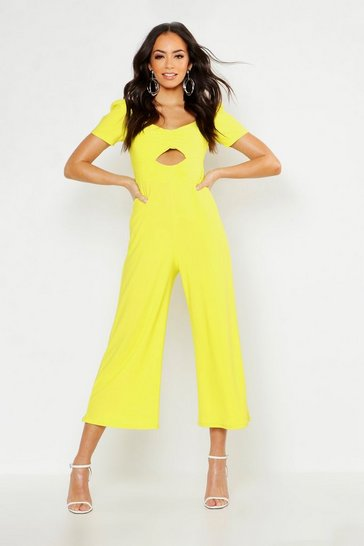 Womens Lime Puff Sleeve Sweetheart Jumpsuit