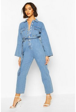 Womens Mid blue Belted Utility Pocket Boilersuit