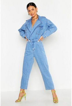 Denim-Jumpsuit mit Kragen, Blau, Damen