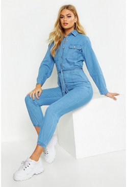 Womens Mid blue Button Down Belted Denim Boilersuit