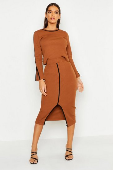 Womens Brown Contrast Binding Ribbed Skirt & Top Set