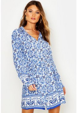Womens Blue Tile Print Shirt Dress