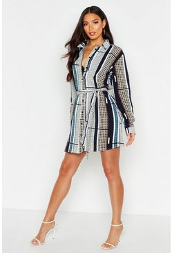 Womens Navy Tile Print Shirt Dress