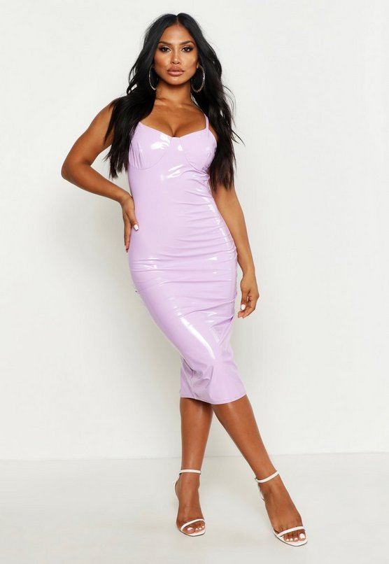 Womens Lilac Strappy Cupped Vinyl Midi Dress
