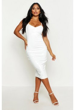 Womens White Strappy Cupped Vinyl Midi Dress