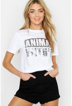 Womens White Unisex Silver Leopard Foil Animal Within Tee