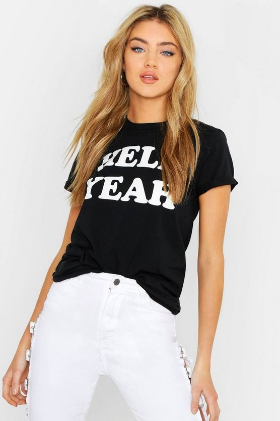 Womens Black Unisex Hell Yeah Printed Slogan Tee